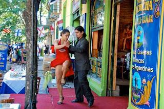 Tango Dancing Caminito in La Boca  Buenos Aires argentina
