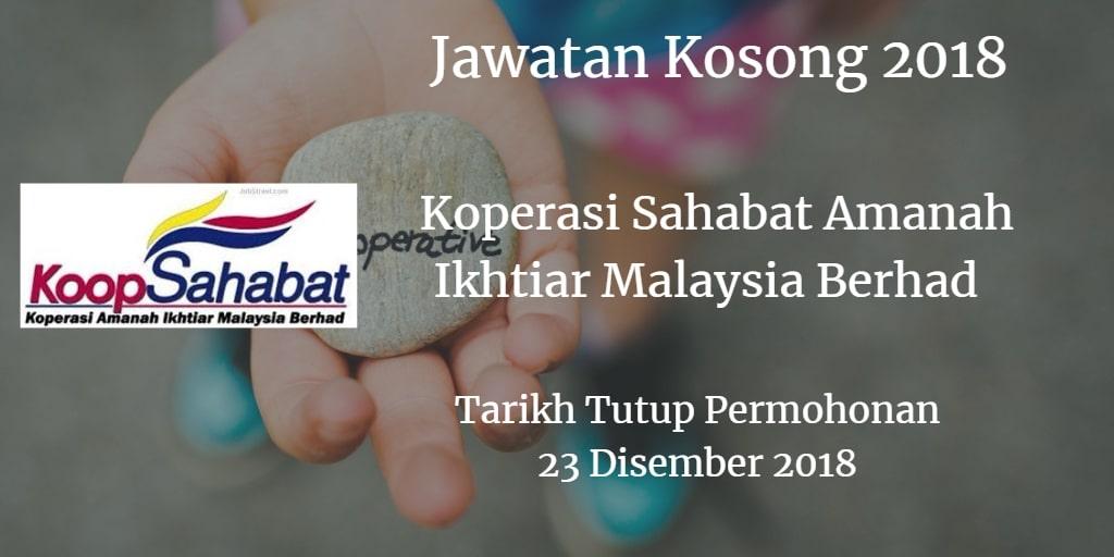 Jawatan Kosong Koperasi Sahabat Amanah Ikhtiar Malaysia Berhad 23 Disember 2018