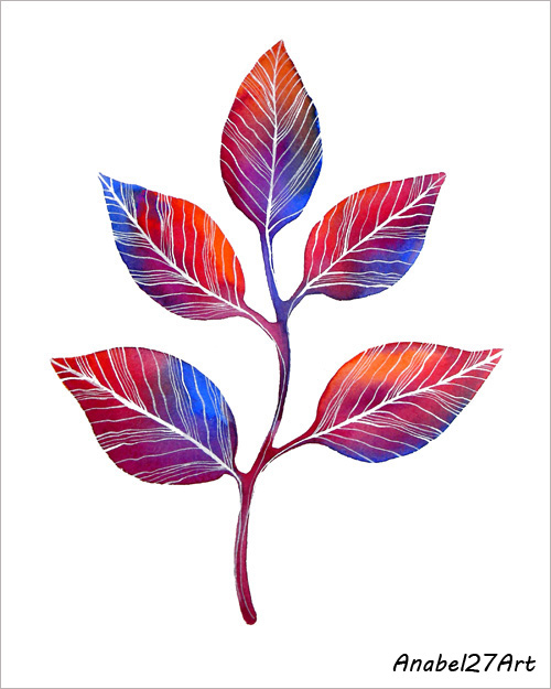 "Printable Art Print ""Autumn Leaf"" - watercolor print - nature - colorful leaf illustration"