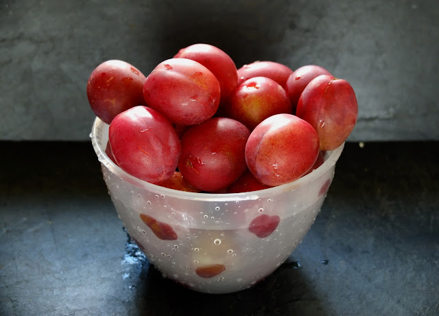 Washed plums in a plastic bowl on dark grey slate.