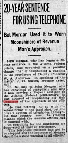 moonshine, Alabama, revenuer, telephone, ancestry, genealogy, family history, Gurganus,