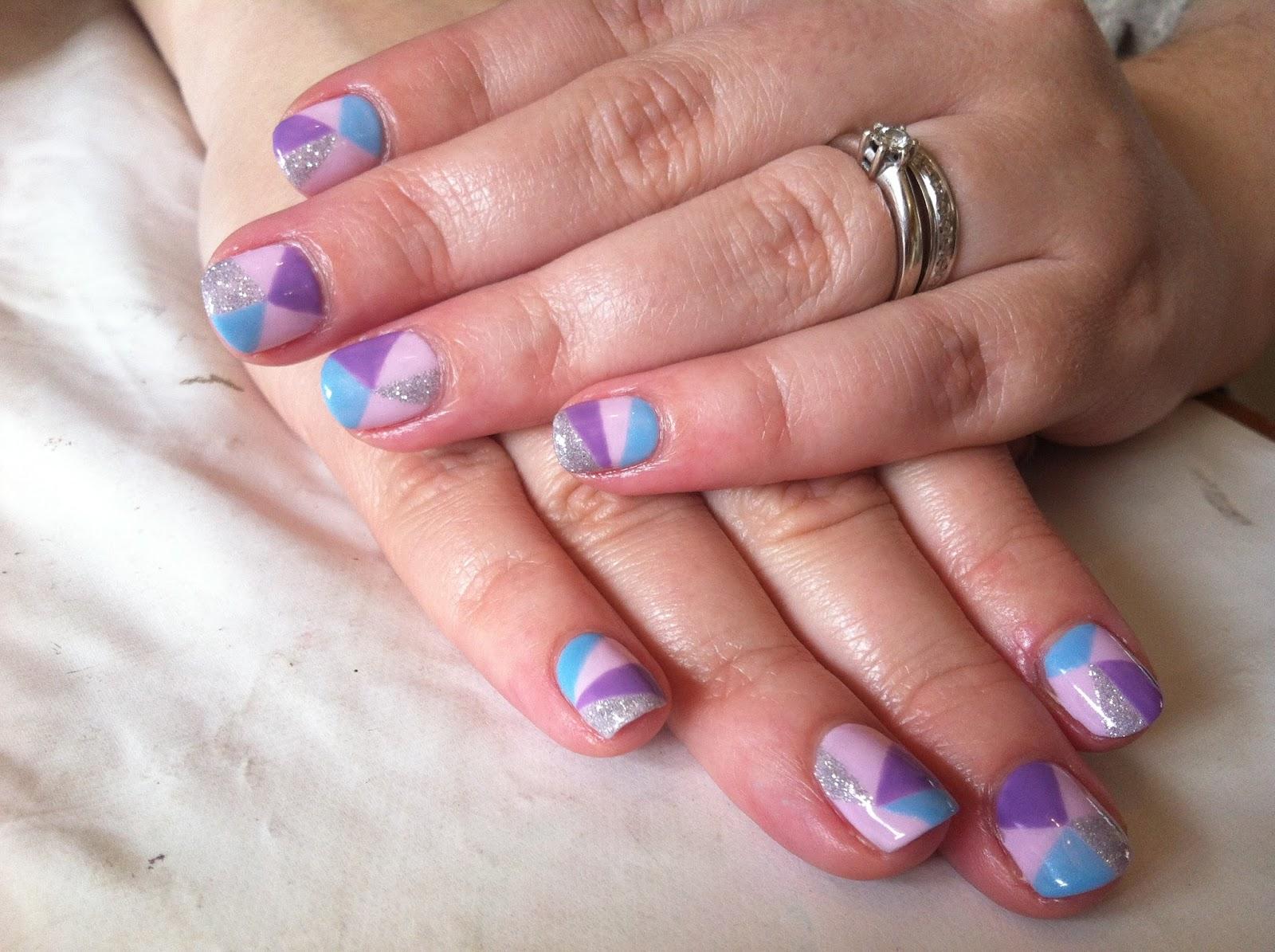 CND Shellac Nail Art - Freehand Geometric