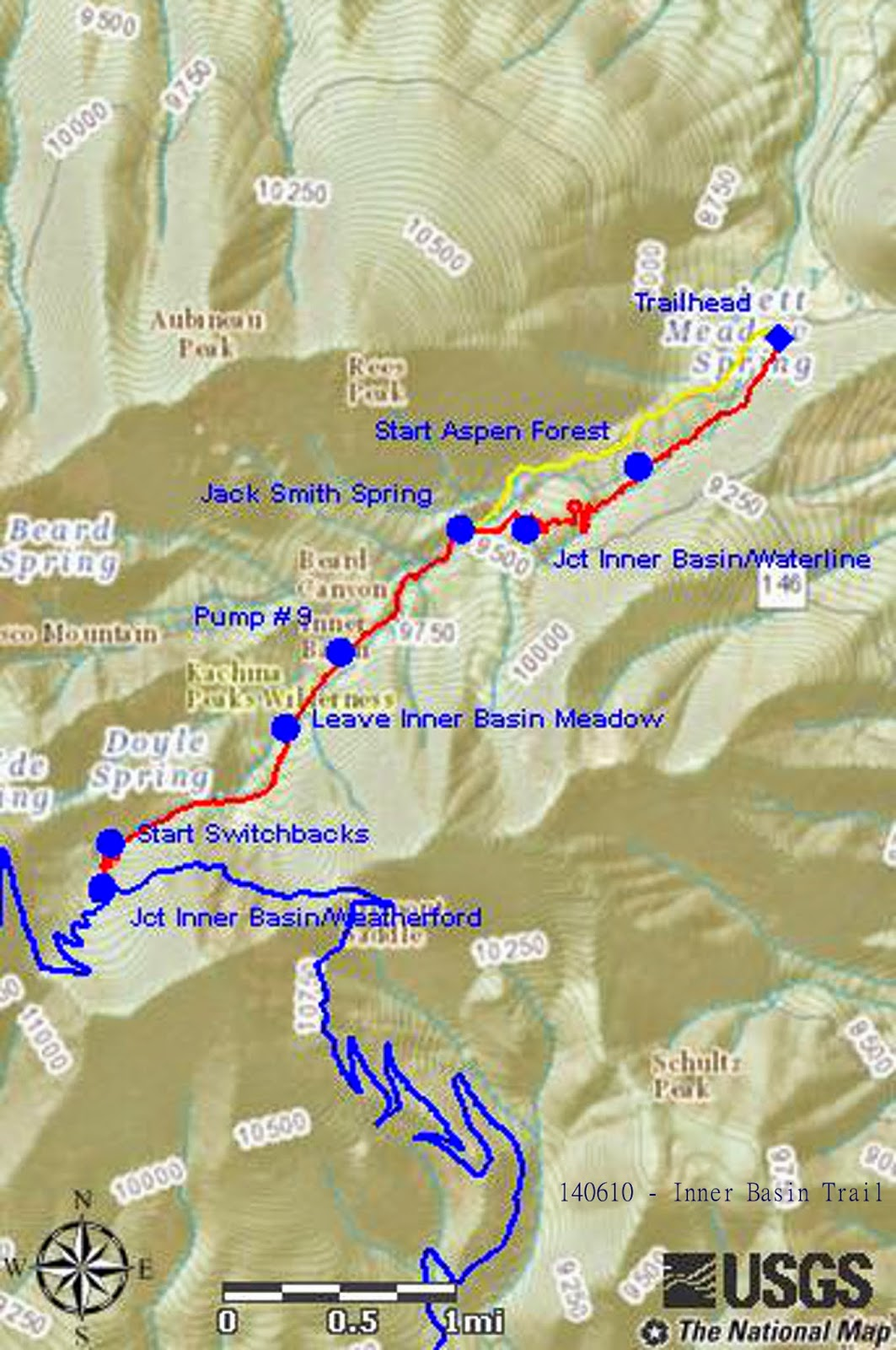 the included map next page shows our gps track in red the yellow track shows the pre 2010 section of trail before it was rerouted