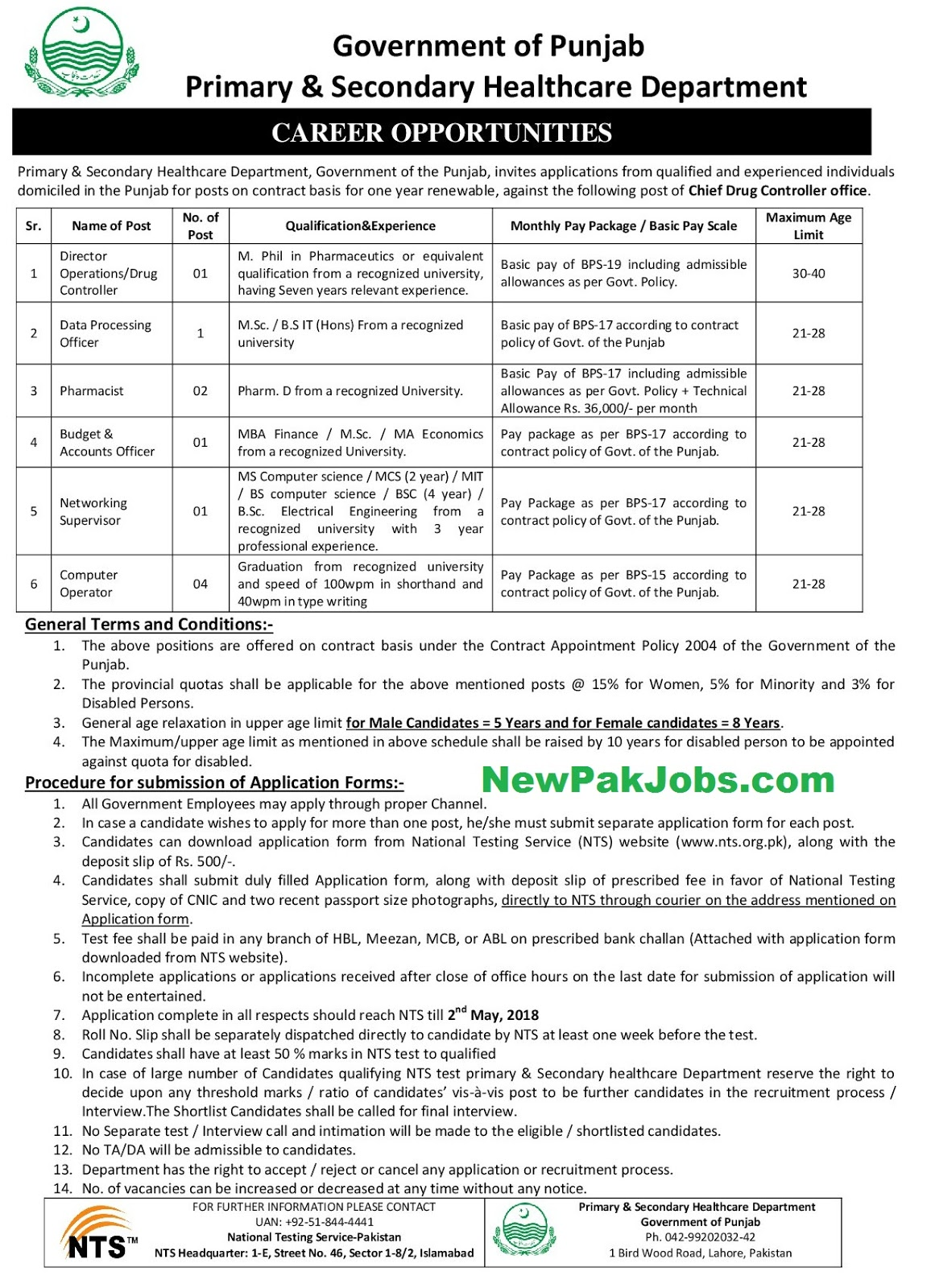 Primary and Secondary Healthcare Department Latest NTS Jobs 2018 Adv. 2