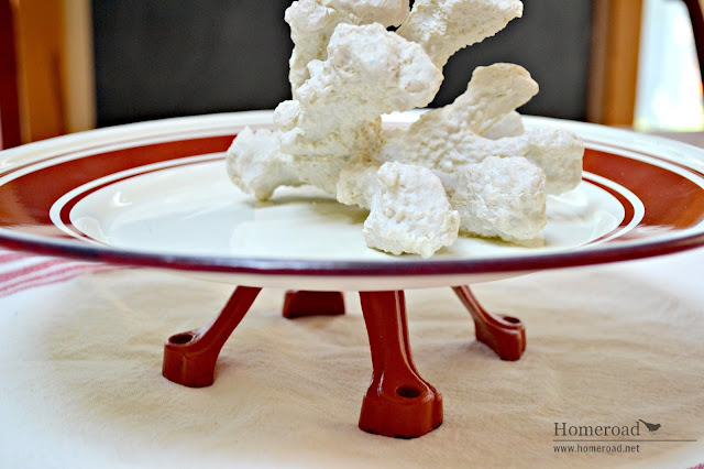 Red and white repurposed enamelware pedestal dish