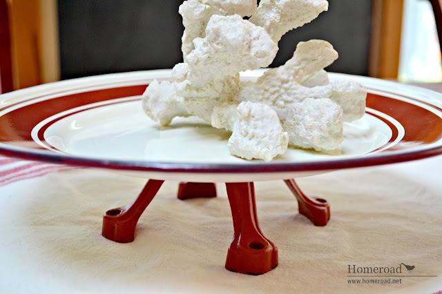 Red and white repurposed enamelware pedestal dish