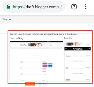 How to upload News plus blogger theme from mobile.