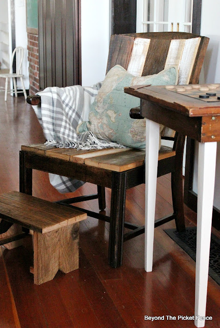 use reclaimed wood to transform and upholster an old chair