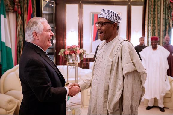 Buhari-Tillerson-hold-closed-door-meeting-in-Aso-Rock