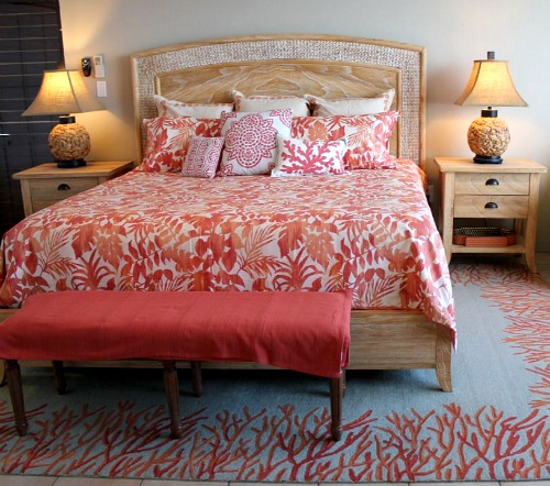 Red Coral Rug in Bedroom