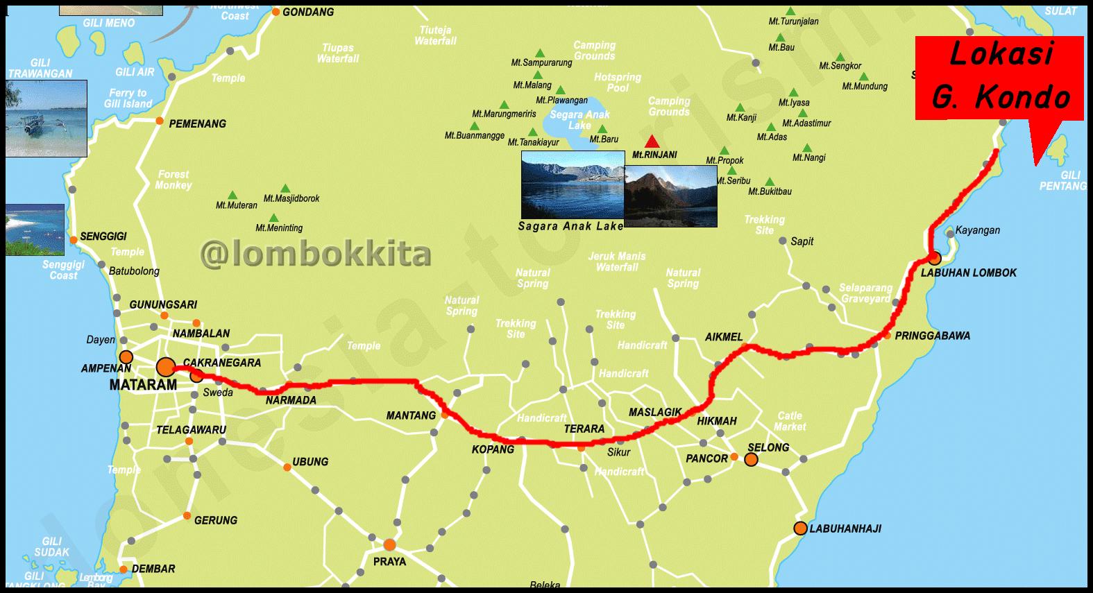 Peta dan Rute ke Gili Kondo Lombok Timur