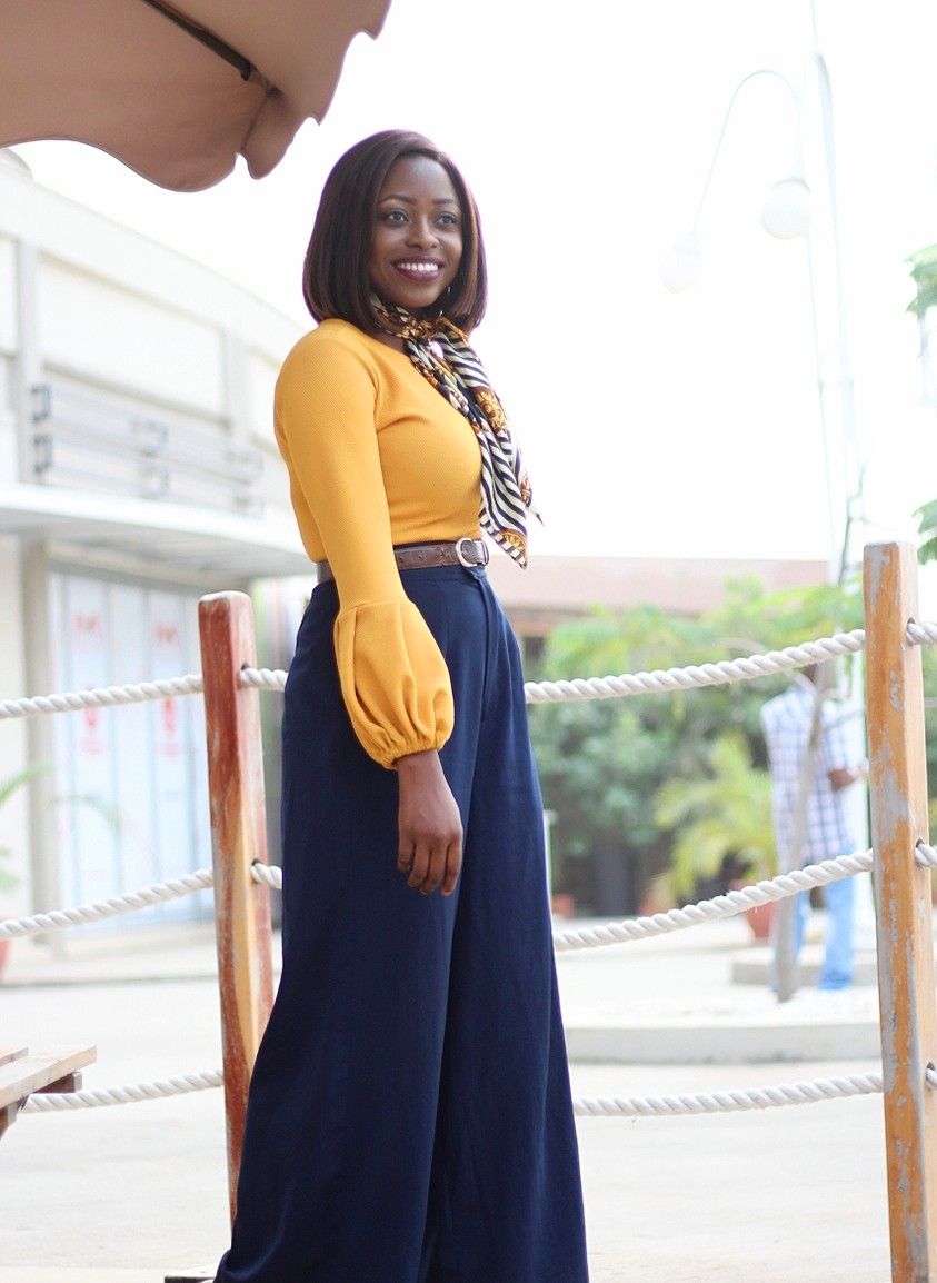 puff sleeves, exaggerated sleeves, lantern sleeves, mustard, retro scarf, high waist trousers