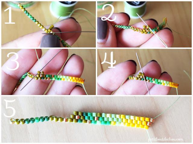 DIY Beaded ginko leaf in brick stitch decrease at beginning