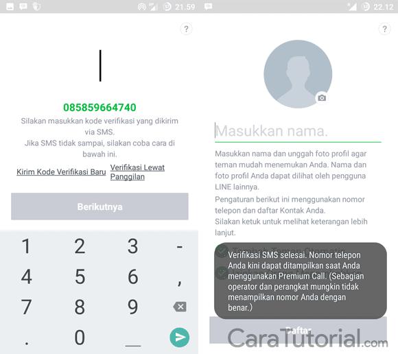 Masukkan Kode Verifikasi yang dikirm melalui SMS LINE
