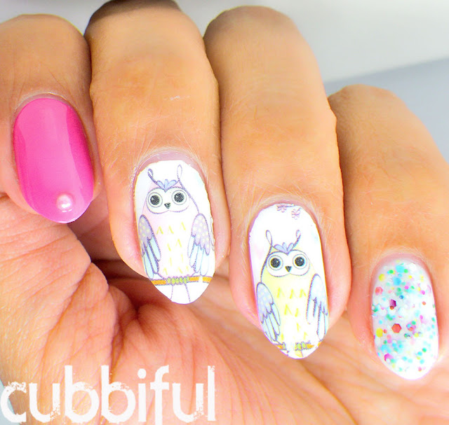 Cute Owl Waterdecal Nails