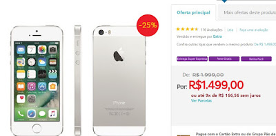 "iPhone 5S Apple com 16GB, Tela 4"", iOS 8, Touch ID, Câmera 8MP, Wi-Fi, 3G/4G, GPS, MP3 e Bluetooth – Prateado"