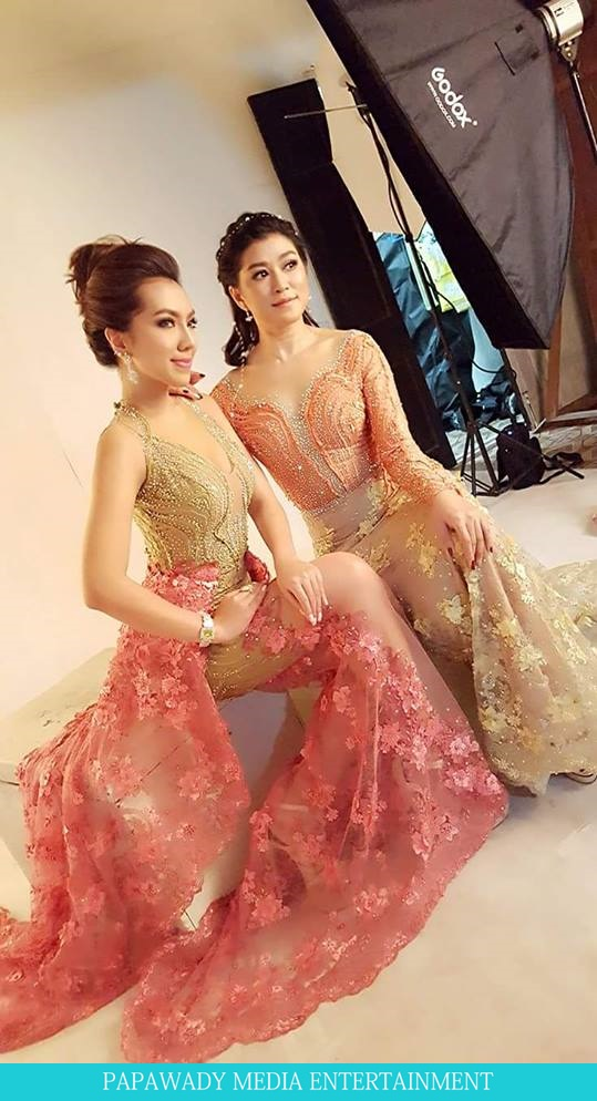 Eaindra Kyaw Zin and Warso Moe Oo cherry world billboard photos shooting
