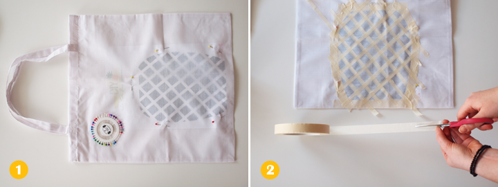 Etapes 1 et 2 - DIY tote bag ananas