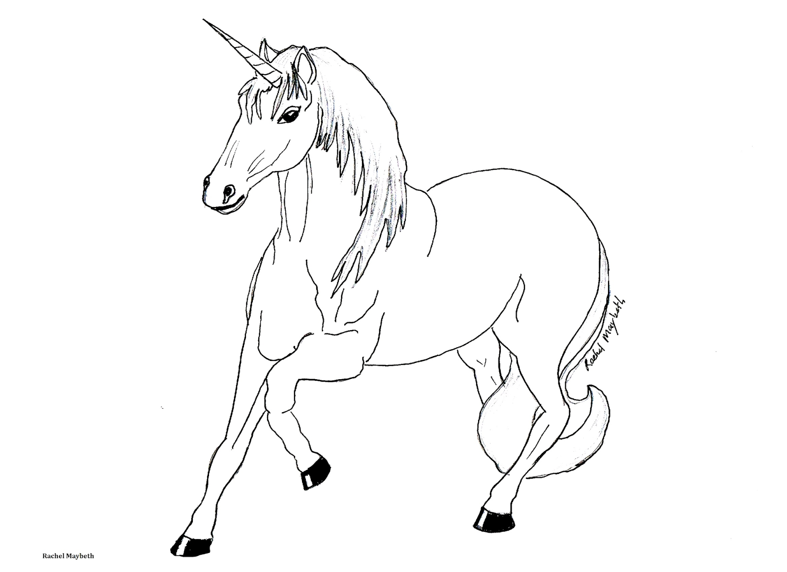 Rachel Maybeth Free Horse Unicorn and Pegasus Coloring