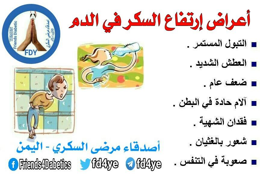 أصدقاء مرضى السكري اليمن مرض السكري الأعراض أعراض إرتفاع السكر في الدم