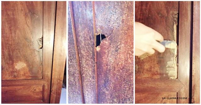 réparation de trous dans un meuble ancien, rénover une armoire ancienne