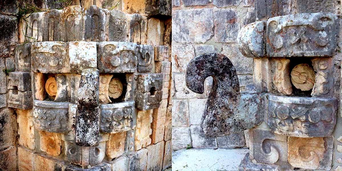 Por muchos lugares de Yucatán se pueden encontrar mascarones que representan a Chaac. La nariz se pone hacia arriba para agradecer y hacía abajo para pedir algún favor al dios.