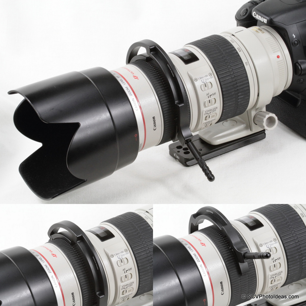 Sunwayfoto DRH-77 Focusing Handle on Canon EF 70-200 L IS USM focus ring