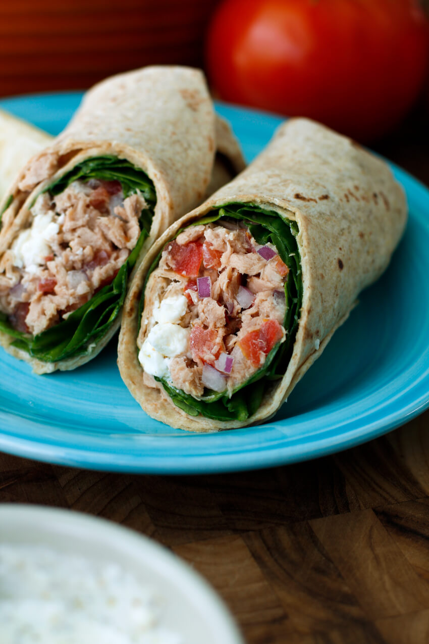 This Spinach & Feta Tuna Wrap makes the perfect healthy lunch or light dinner on a hot summer day! AD #tuna
