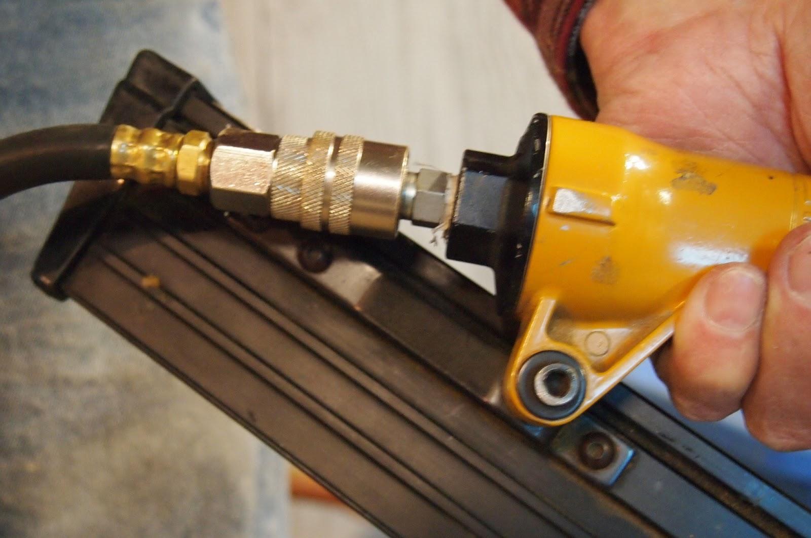 How to Build a Canvas Stretcher: 19. Attach hose to nail gun