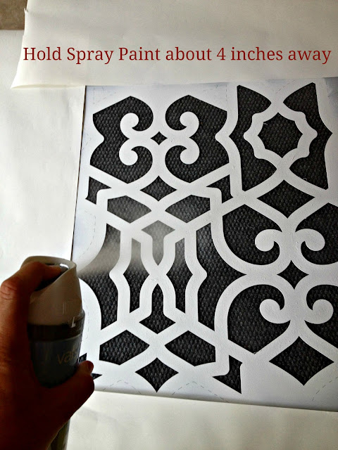 spray painting with a stencil