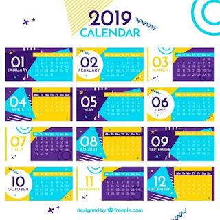 Calendario colorido plano para el año 2019