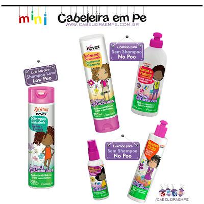 Linha infantil liberada para No poo. Shampoo sem sulfato infantil. Novex Meus Cachinhos.