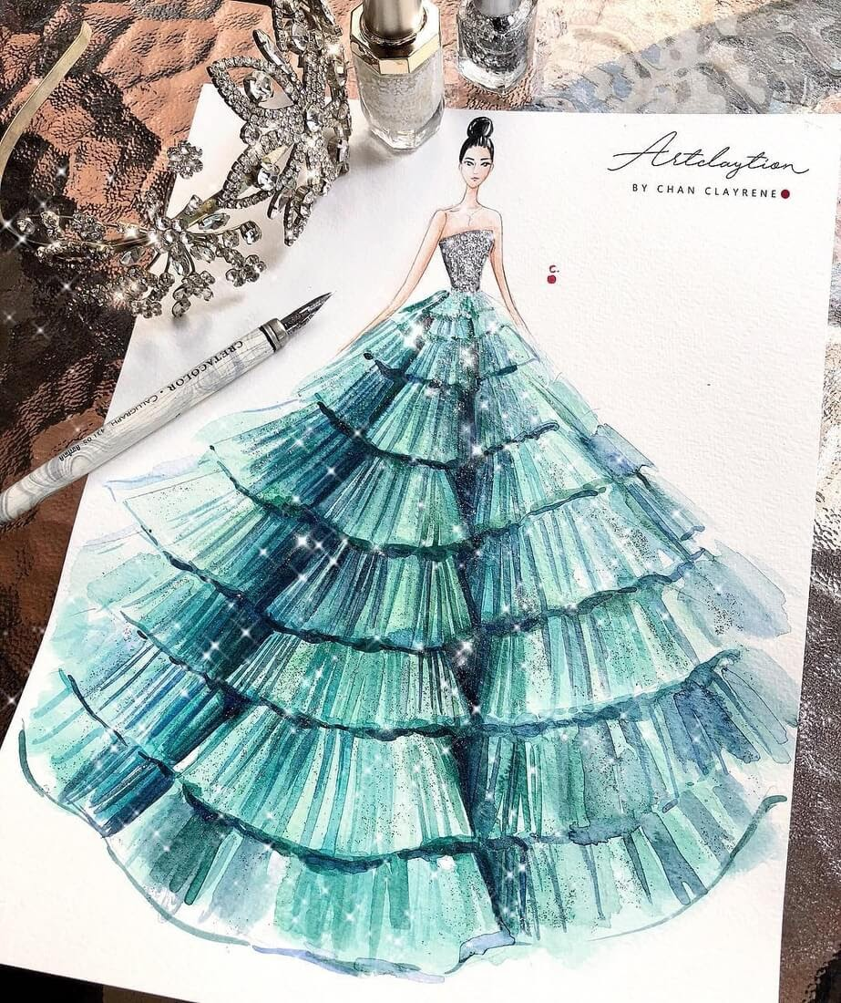 16-Haute-Couture-Mint-Gown-Clayrene-Chan-Drawings-of-Lavish-Flowing-Dress-Designs-www-designstack-co