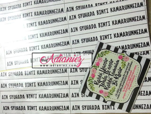 stiker nama persediaan anak ke sekolah