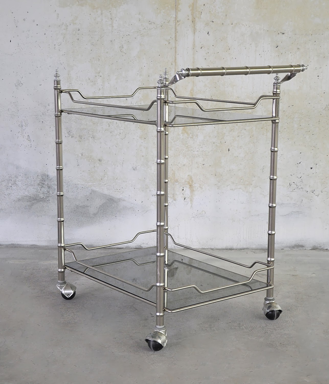 Select Modern Hollywood Regency Rolling Bar Serving Cart
