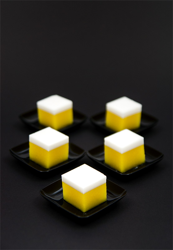 Mango cocos agar cubes thai dessert on black 5 cubes