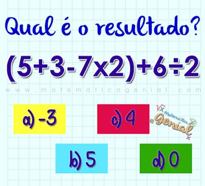 Qual é o resultado de: (5+3-7x2) + 6÷2
