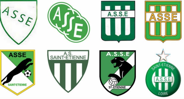 Evolution des logos de l'AS Saint-Etienne dans l'histoire