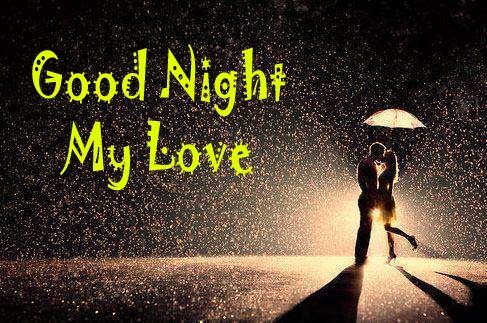 Romantic Couple Good Night Kiss Image with Rain