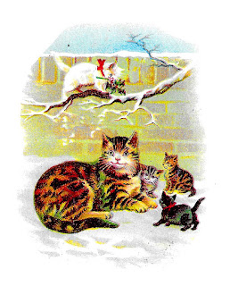 cat kittens christmas card printable image greeting clipart