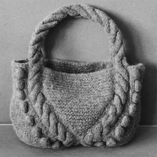 Felted Bag with Cables and Bobbles - Free Pattern