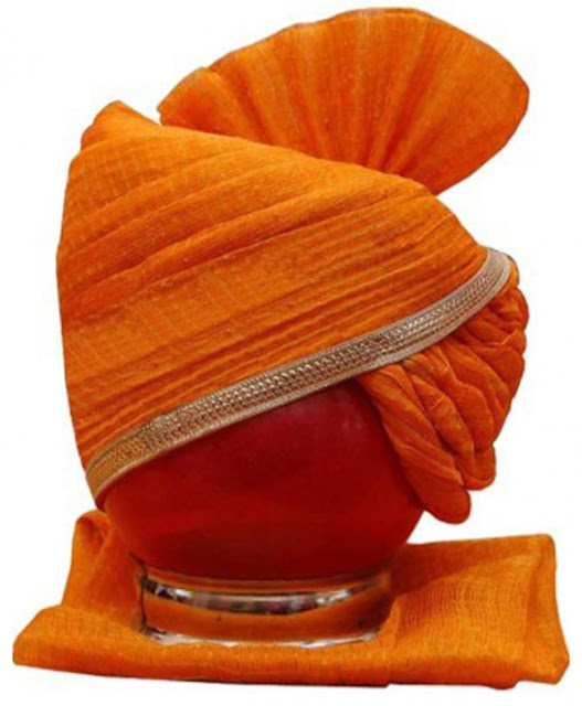 IMPERIAL HANDMADE ORANGE GROOM TURBAN _SAFA