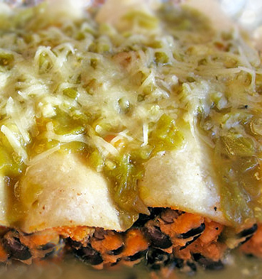 Sweet potato black bean enchiladas with salsa verde are vegetarian and gluten free