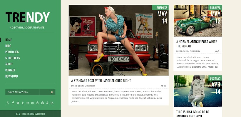 Trendy Free Blogger Template