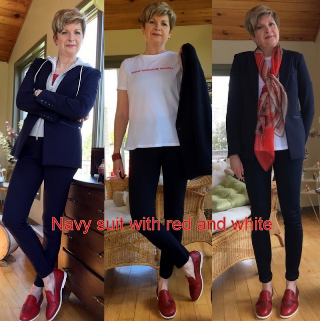 woman in three different ways to style a navy pants suit