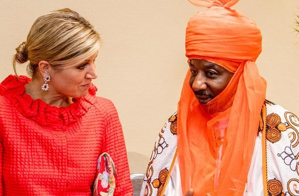 Queen Maxima wore a red Natan dress which she had worn before. Queen attended a event in Abuja, Nigeria