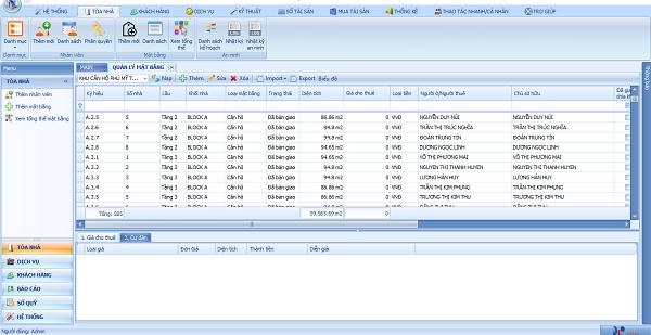 Giao diện phần mềm Landsoft Control cho Ricons