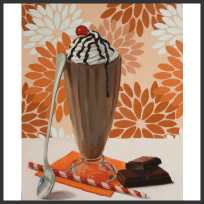 dessert, desserts, still life, oil painting, pattern, art, artwork, for sale, original, gift, milkshake, chocolate, orange