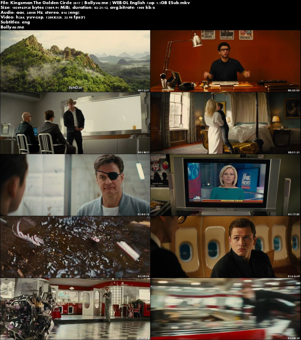 Kingsman The Golden Circle 2017 WEB-DL 999MB English 720p ESub Download