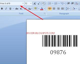hasil barcode pada ms word